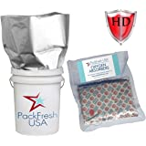 5 Gallon Heavy Duty Mylar Bags with 2000cc Oxygen Absorbers (10) with PackFreshUSA LTFS Guide