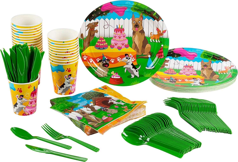 Vajilla desechable de Animal Party Supplies, con cubiertos de plástico: cuchillos, cucharas, tenedores, platos de papel, servilletas, vasos, para 24 personas