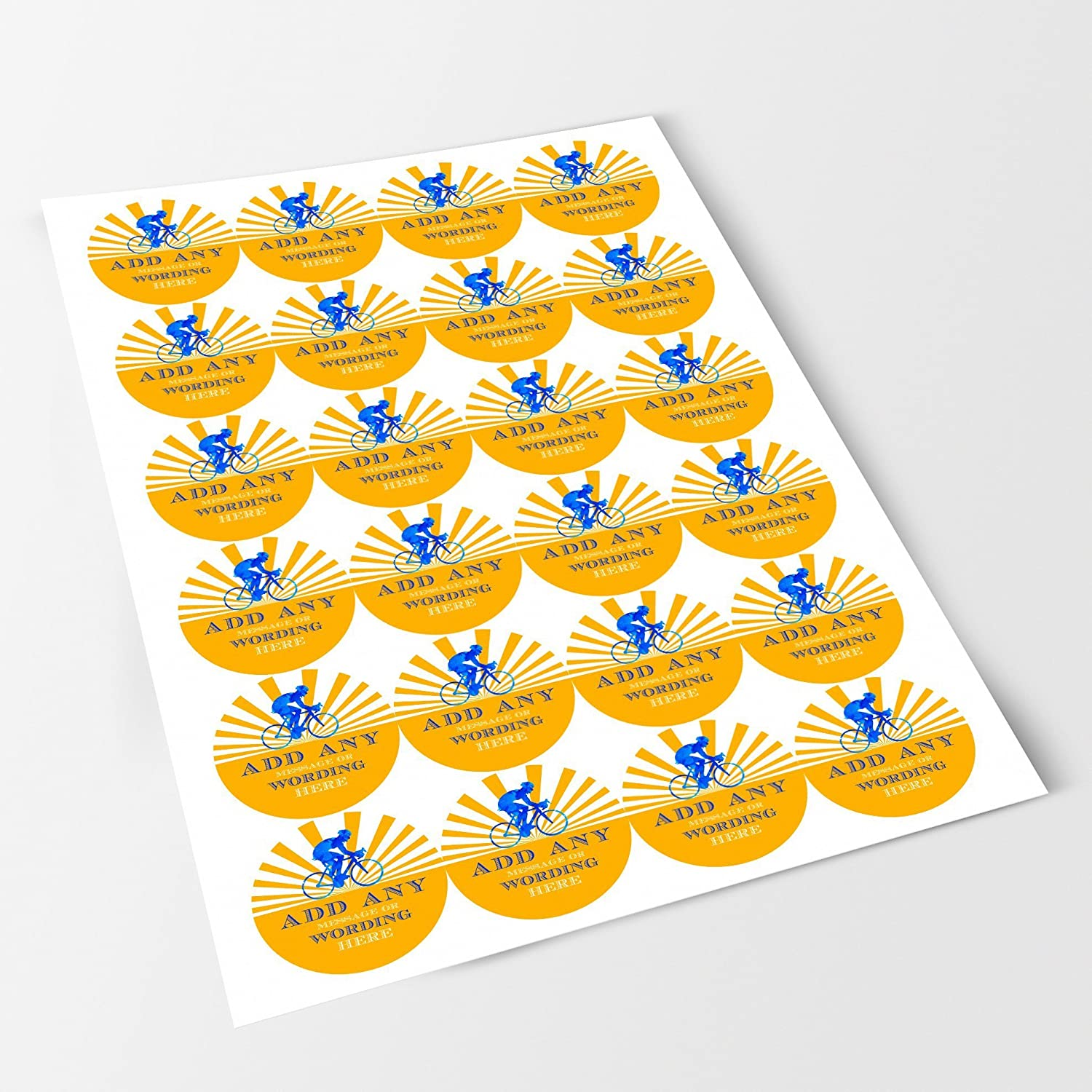 Crafts Yellow Bicycle Sticker Labels Personalised Seals Ideal for Party Bags Bottles Favours Presentations Gift Boxes Jars Sweet Cones