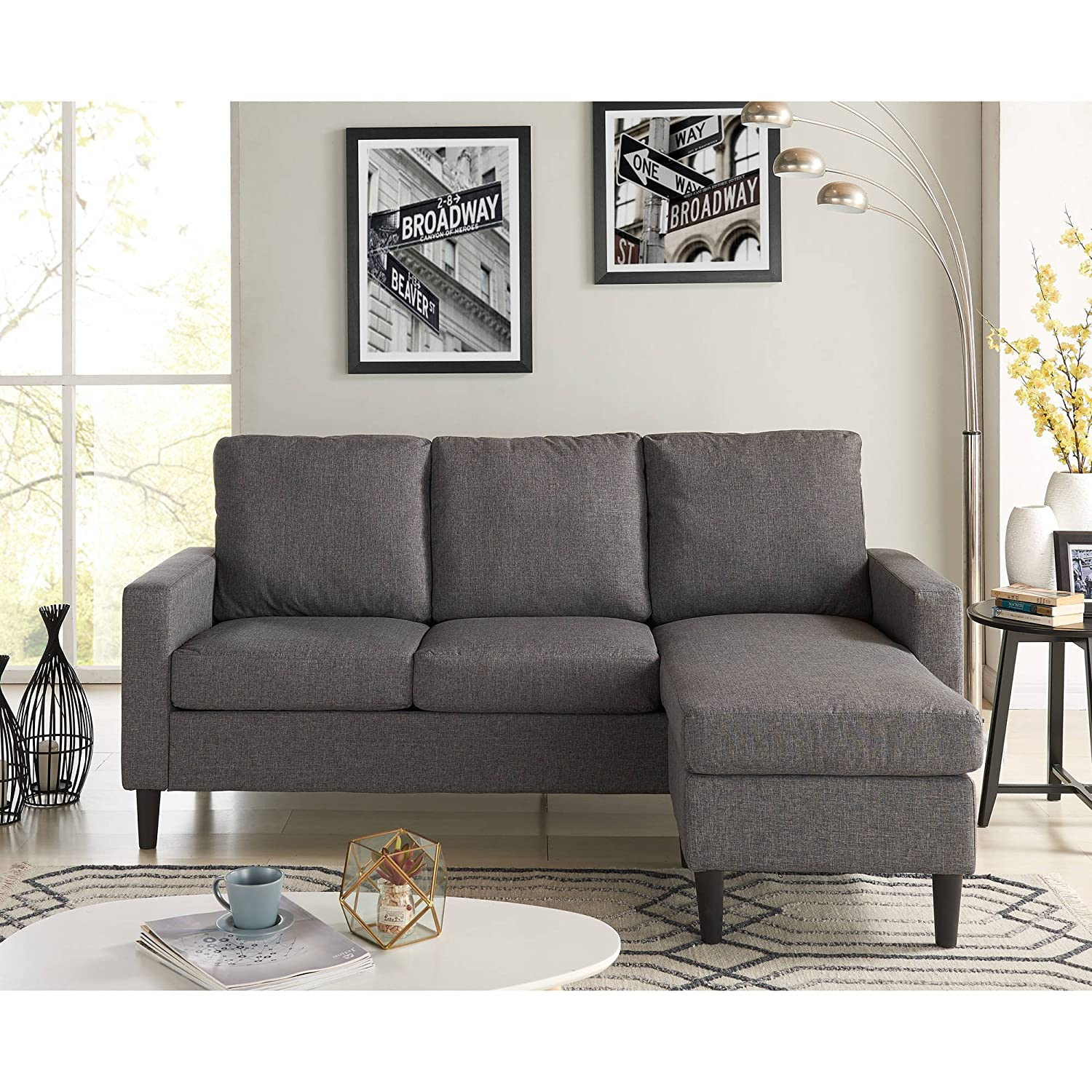 Mainstays Apartment Reversible Sectional, Grey