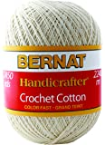 Bernat Handicrafter Crochet Cotton Yarn, 14 Ounce, White, Single Ball