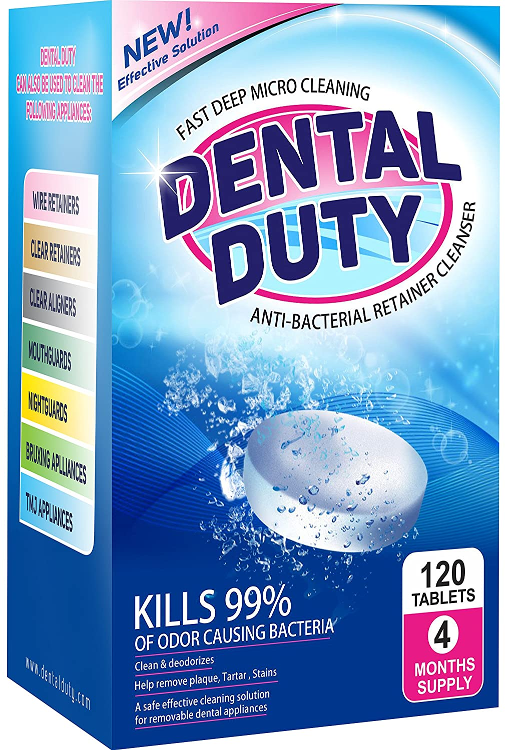120 Retainer Cleaning Tablets -(4 Months Supply)- Removes Stain, Plaque & Bad Odor from Dentures, Nightguard, Mouth Guard & Removable Dental Appliances - Made in USA. Dental Duty DT01