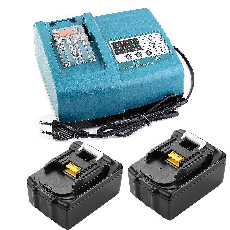 2 piezas BL1830 18 V 3.0 Ah Bater/ía con 1.5 A DC18RC DC18RD Cargador Reemplace para Makita 18 V LXT Combi taladro DHP482Z HP331DZ DHP453Z DHP458Z