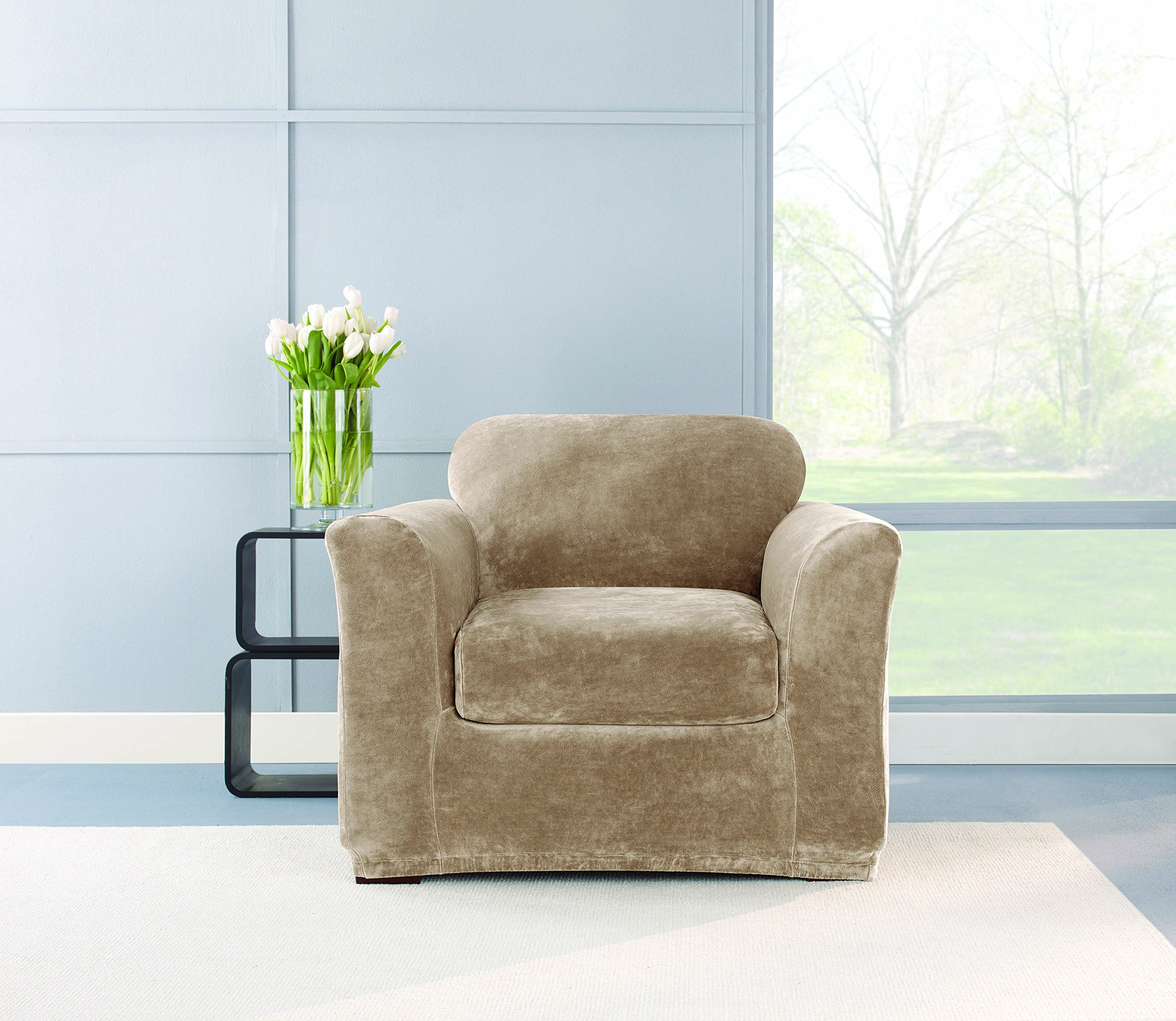 Sure Fit Stretch Plush 2-Piece - Chair Slipcover  - Sable (SF40938)