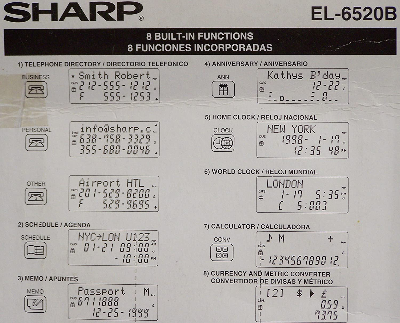 Amazon.com : Sharp EL-6520 Memo Master Electronic Organizer Calculator EL-6520B : Electronics