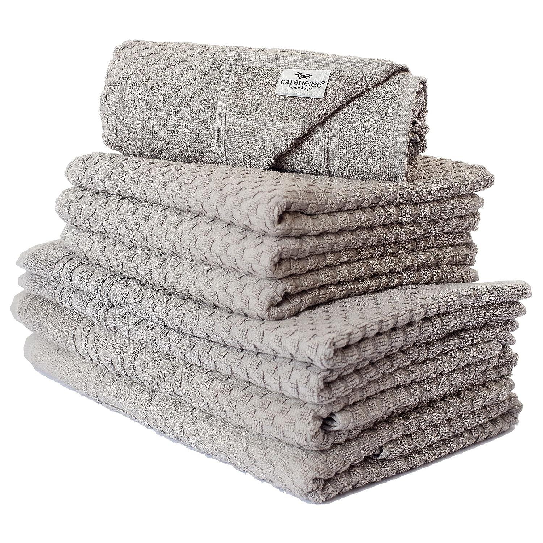 Carenesse Set di Asciugamani da 8, 2 asciugamani da doccia, 4 asciugamani, 2 tappetini da bagno, grigio taupe, qualità premium, assorbenti e resistenti, design a nido d\'ape e bordo scatola, 100% cotone, telo da bagno, telo doccia, asciugamani in spugna, se