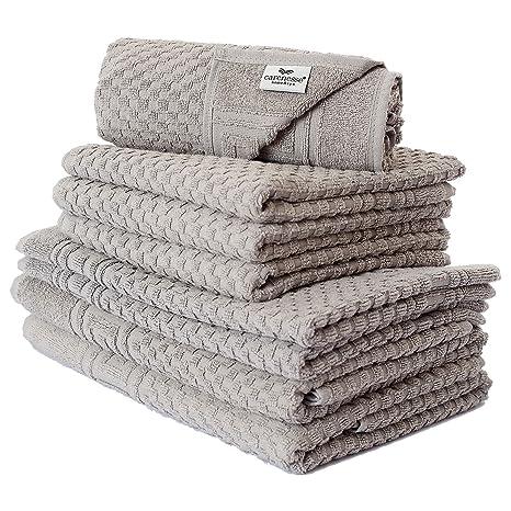 Carenesse Juego de toallas de mano (8 piezas, relieve con joyero cenefa Pardo gris, ...