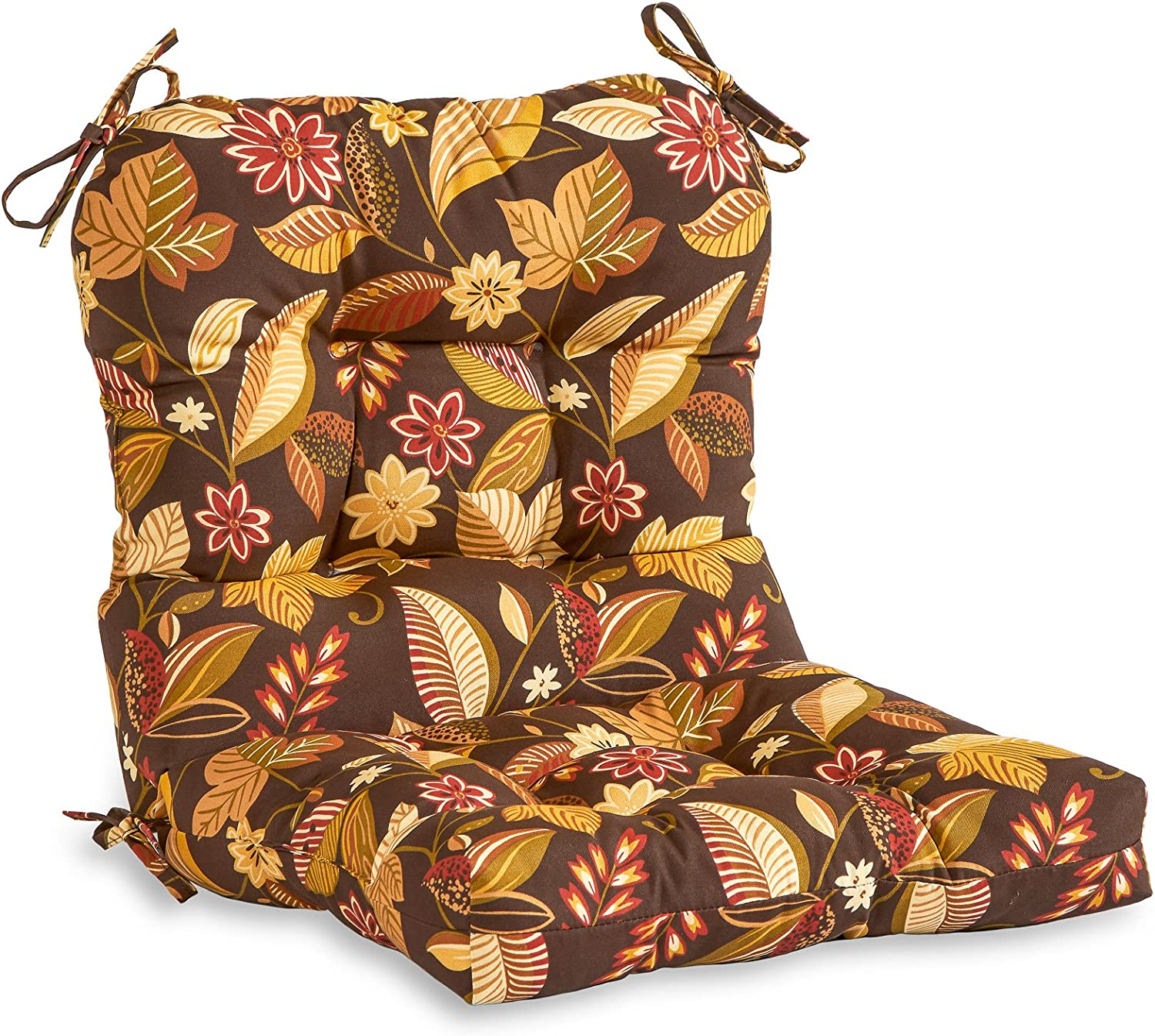 Greendale Home Fashions AZ4808-TIMBFLORAL Russet Floral 38 x 21-inch Outdoor Chair Cushion