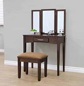 Frenchi Home Furnishing 2 Piece Home Furnishing Stool Set & Vanity, Espresso