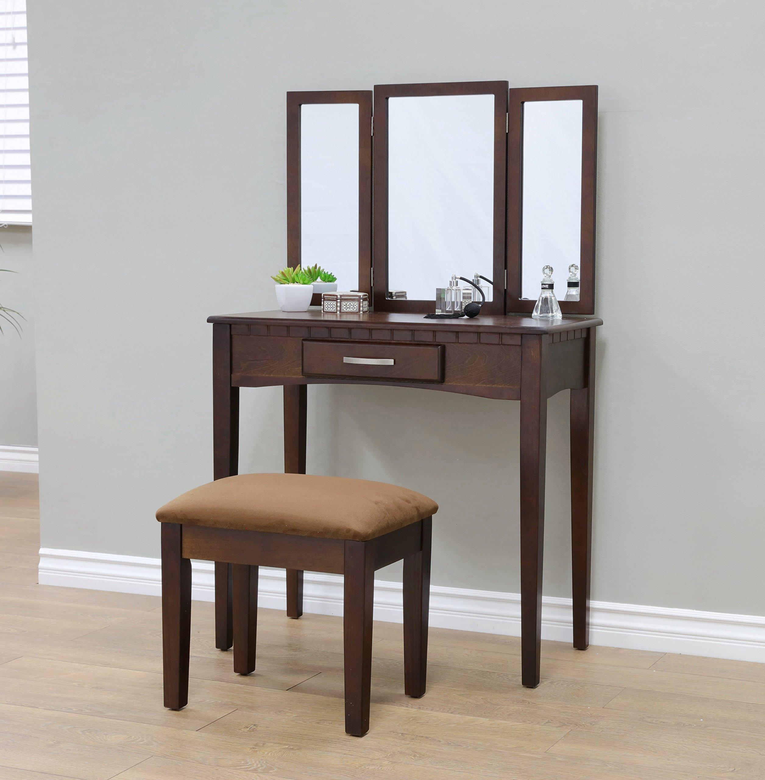Mirrored Vanity Stool Set Espresso Dark Wood 3 Mirrors Bedroom Makeup Table  NEW