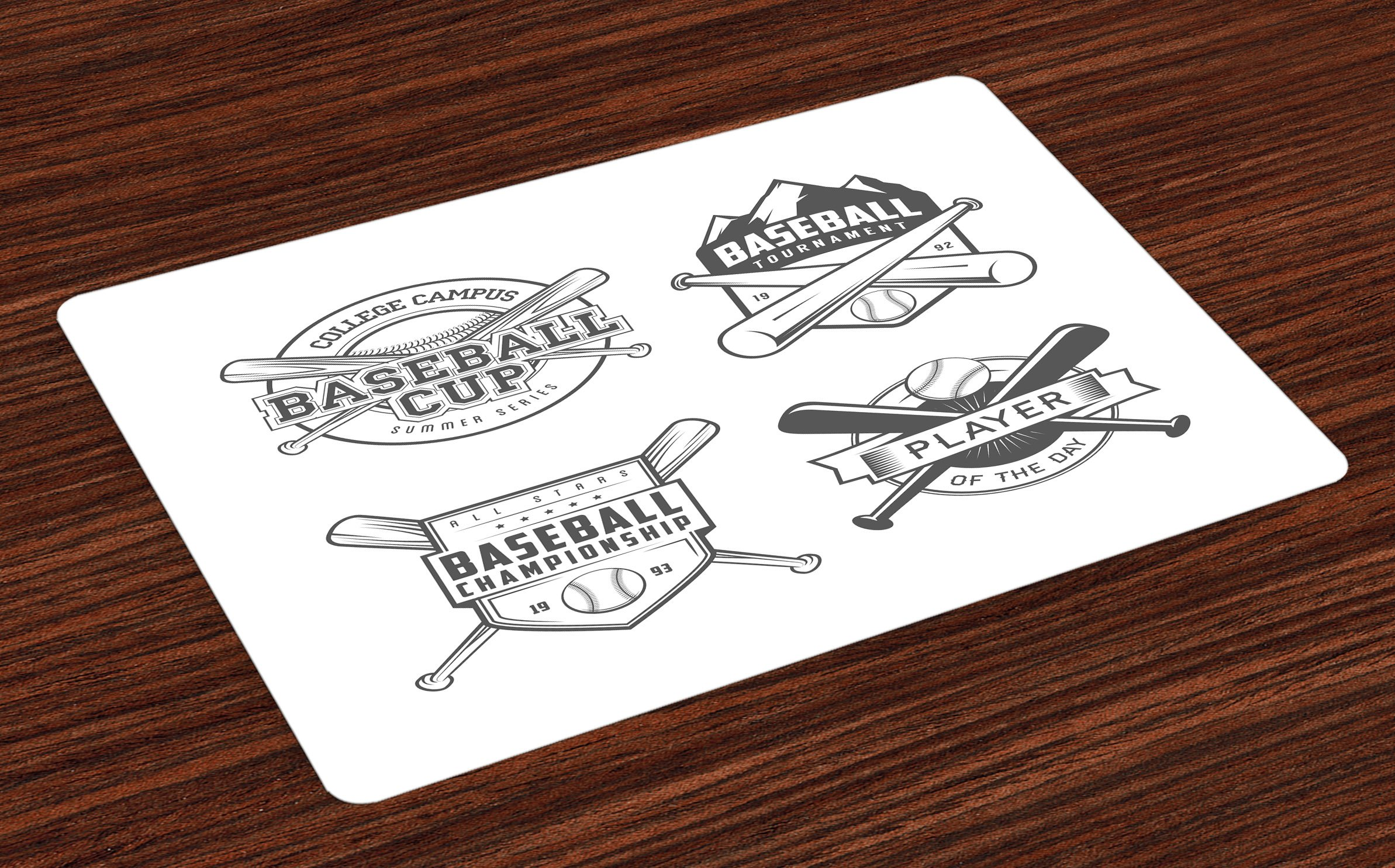 Lunarable Sports Place Mats Set of 4, College Baseball Logos Vintage Greyscale Composition of Labels of Teams, Washable Fabric Placemats for Dining Room Kitchen Table Decor, Charcoal Grey and White