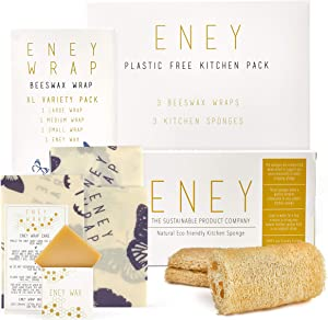 ENEY Premium Organic Beeswax Food Wrap and Biodegradable Kitchen Sponge Bundle | 3 Pack of Beeswax Wraps and 3 Pack of Eco Kitchen Sponges