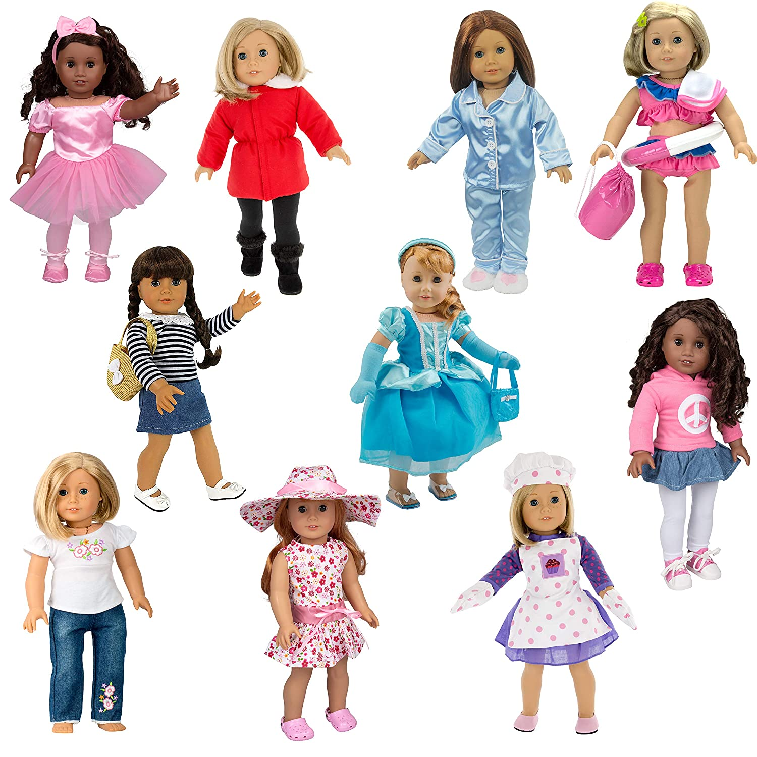 Dress Along Dolly 10 Unique Outfits Variety Pack for American Girl and Other 18 Inch Dolls - Total 40 Pcs - Shoes and Accessories Included