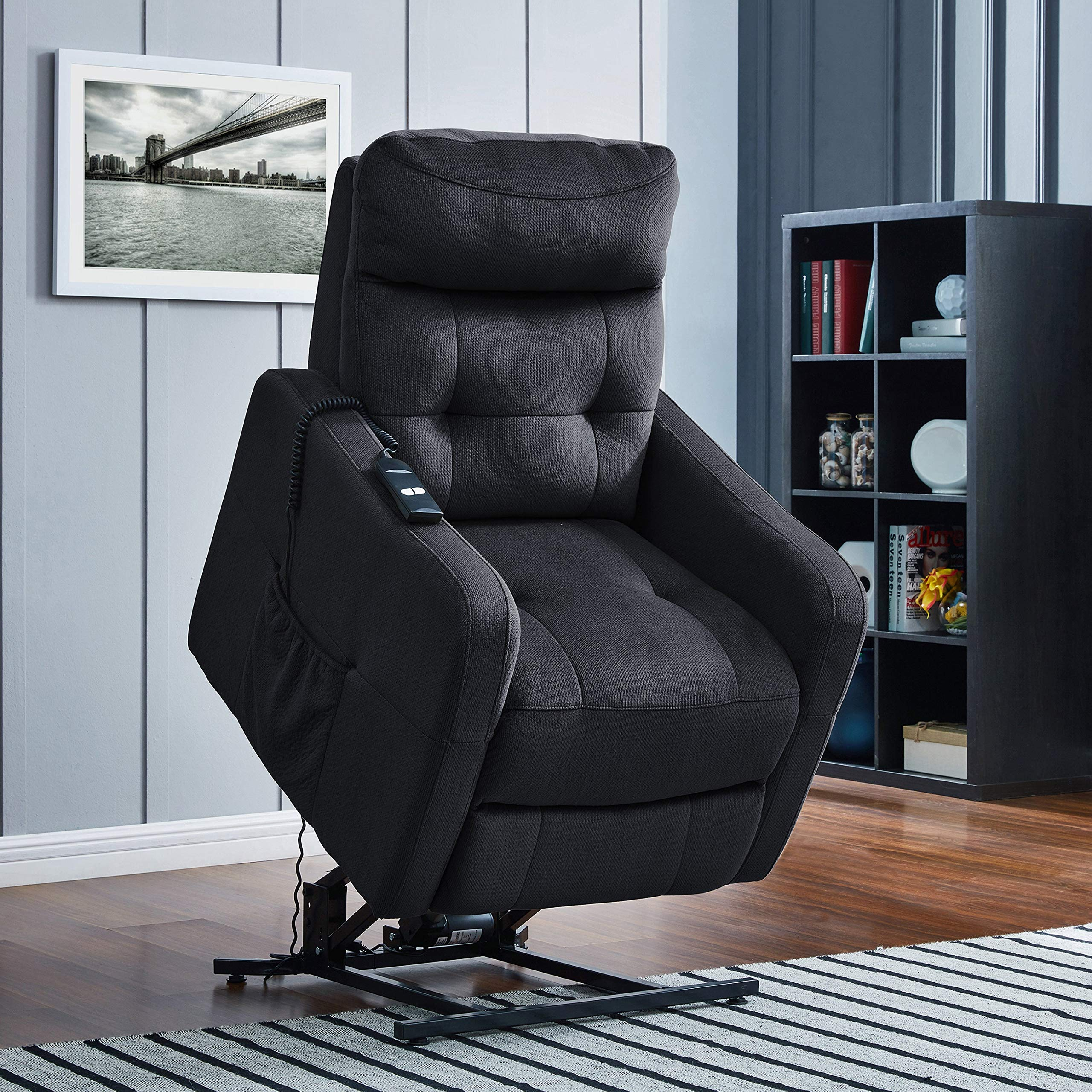 ProLounger Navy Blue Velour Power Recline and Lift Chair by ProLounger