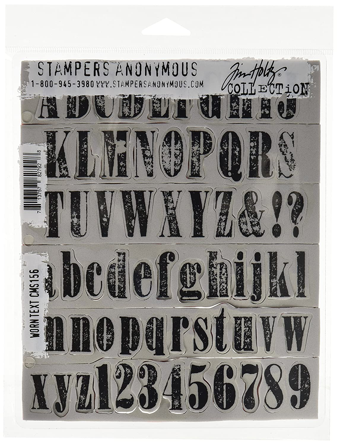 Stampers Anonymous Tim Holtz Cling Rubber Stamp Set Worn Text 7 by 8.5-Inch