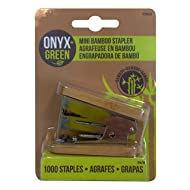Onyx and Green Mini Stapler with 1000 Staples, Bamboo (4803)