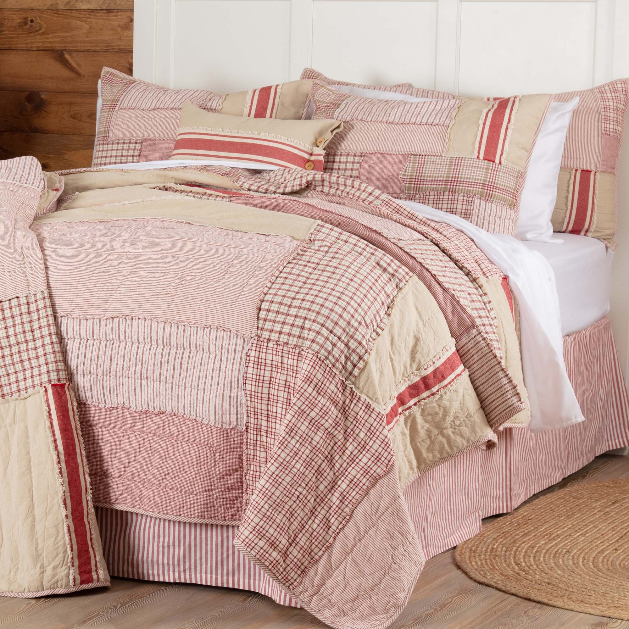 Piper Classics Mill Creek Red Quilt, Queen Size 90'' x 90'', Country Farmhouse Bedding, Beautiful Country Christmas Quilt, Grain Sack, Ticking Stripe, and Plaid Fabrics, 100% Cotton
