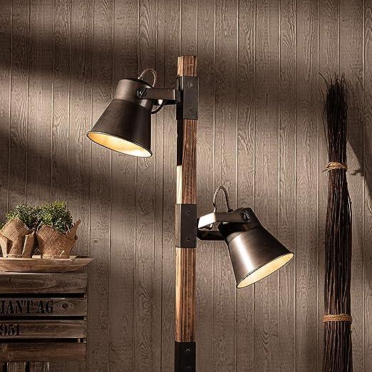 Lámpara de pie rústica, 2 focos, 2 bombillas E27 máx. 10 W, metal ...