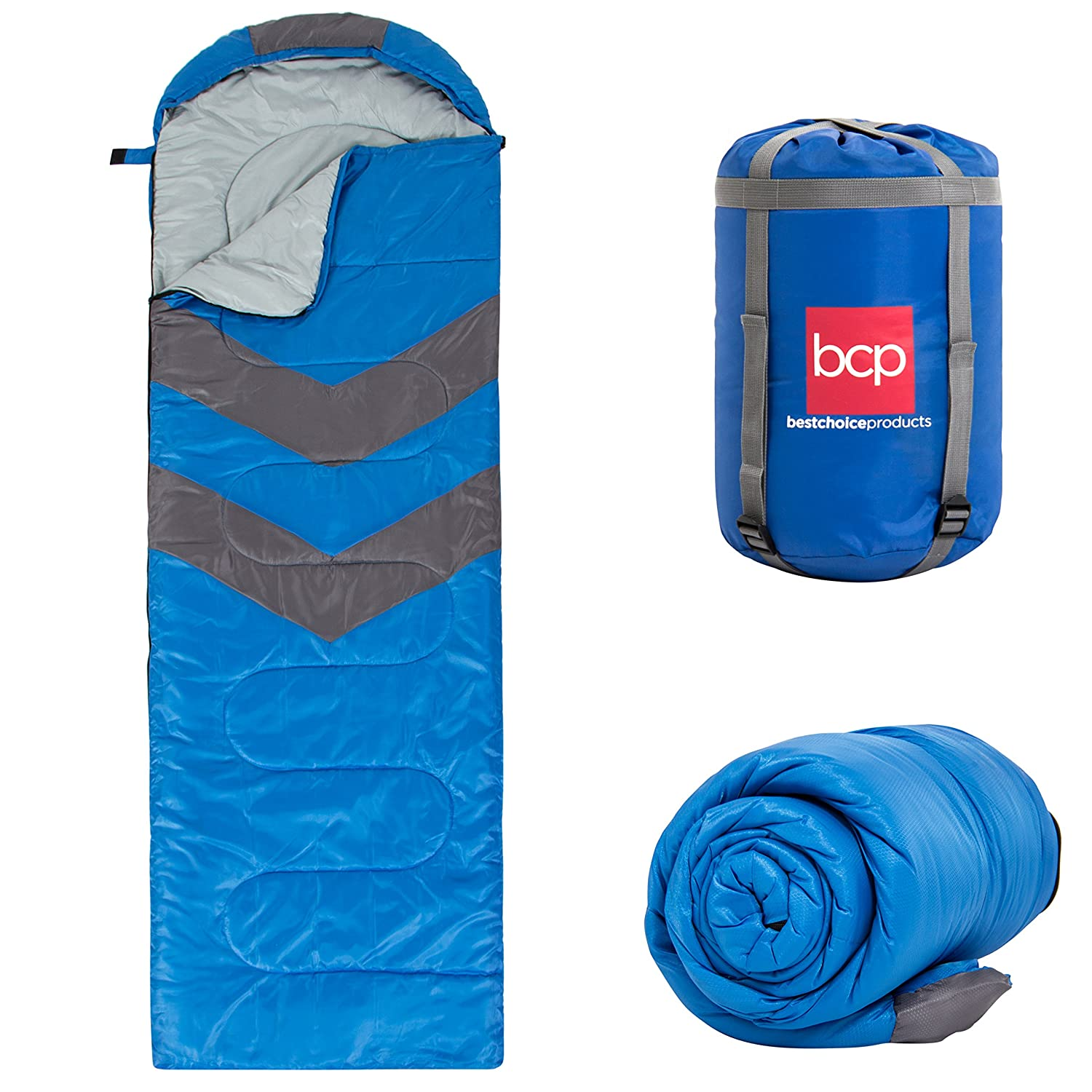 Best Choice Products 4-Season 20 F Envelope Sleeping Bag w Carrying Case, Weather-Resistant Material