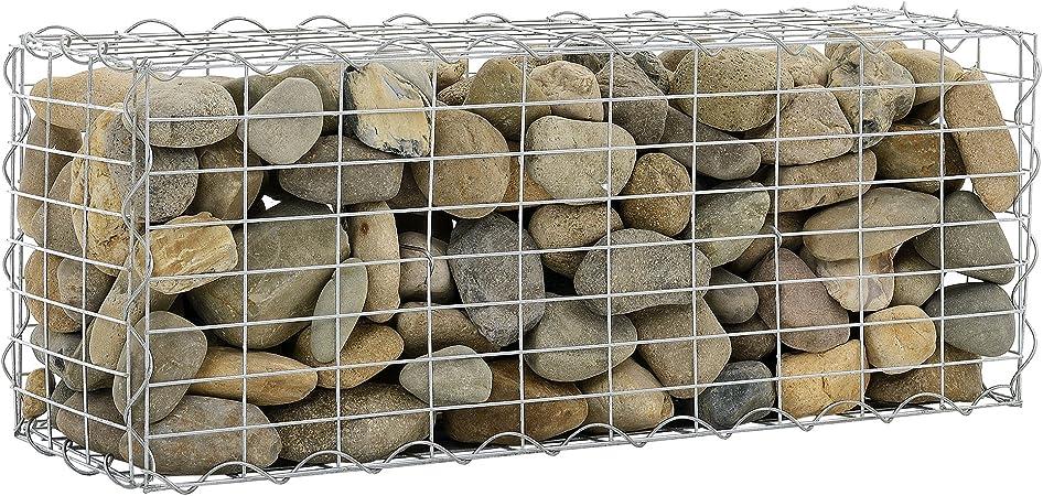 [pro.tec] Gavión 100 x 30 x 40 cm Cesta de Piedras Banco de jardín Valla Alambre galvanizado: Amazon.es: Hogar