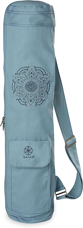 "Gaiam Yoga Mat Bag – Full Zip Cargo Yoga Mat Carrier Bag – Adjustable Strap, Front & Back Pockets (25""L x 6"" Diameter)"