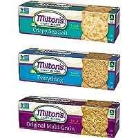 Milton's Gourmet Crackers. Crispy Sea Salt, Multi-Grain, and Everything Bundle Non-GMO Baked Crackers (3 Flavor Variety Bundle, 8.3 Ounces).