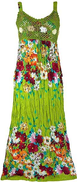 GURU-SHOP, Boho Vestido de Verano, Vestido Arrugado, Vestido de Playa Hippie