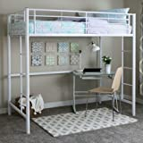Walker Edison Twin Metal Loft Bed, White