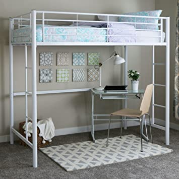 Walker Edison Twin Metal Loft Bed White