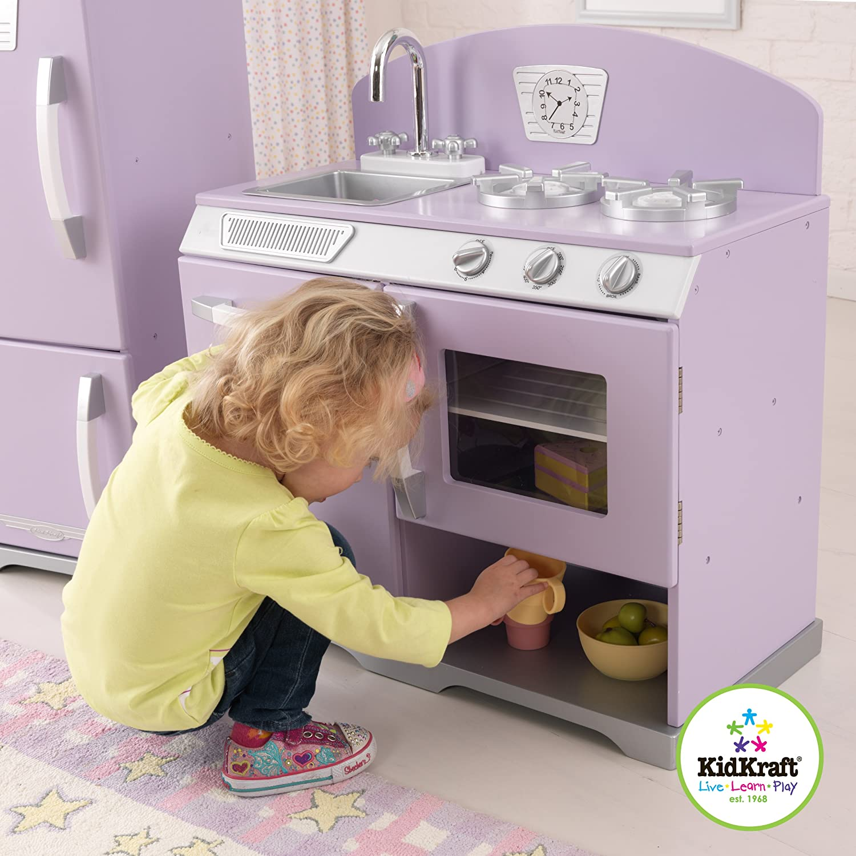 kidkraft lavender retro kitchen refrigerator toys games