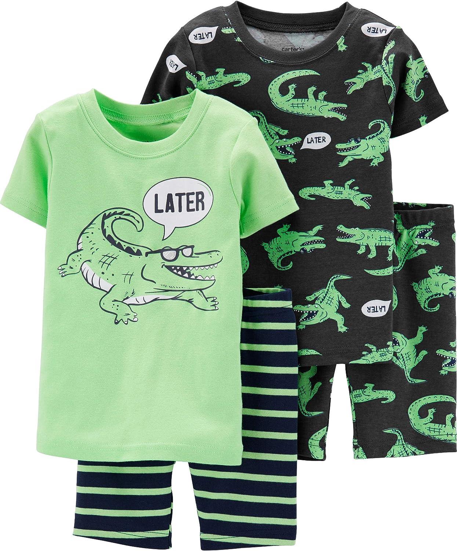 Green 9 Months Carters 4-Piece Alligator Snug Fit Cotton PJs