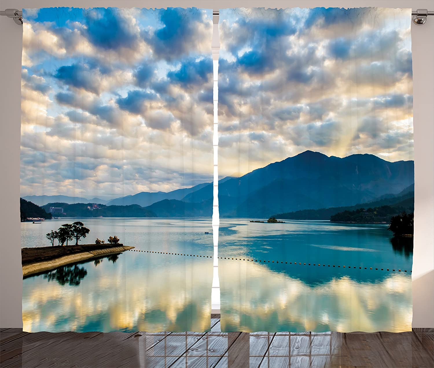 Ambesonne Tropical Curtains, Surreal Cloudy Sky Reflections on Sun Moon Lake Idyllic Nature Landscape, Living Room Bedroom Window Drapes 2 Panel Set, 108