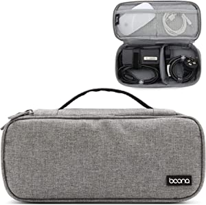 Baona Carrying Bag for AC Adapter, Travel Organizer for Laptop Charger, Pouch Cover Case for Power Cord and Other Accessories, Black (Gray Single Layer)