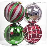 Valery Madelyn 4ct 150mm Classic Collection Splendor Red Green White Shatterproof Christmas Ball Ornaments Decoration…