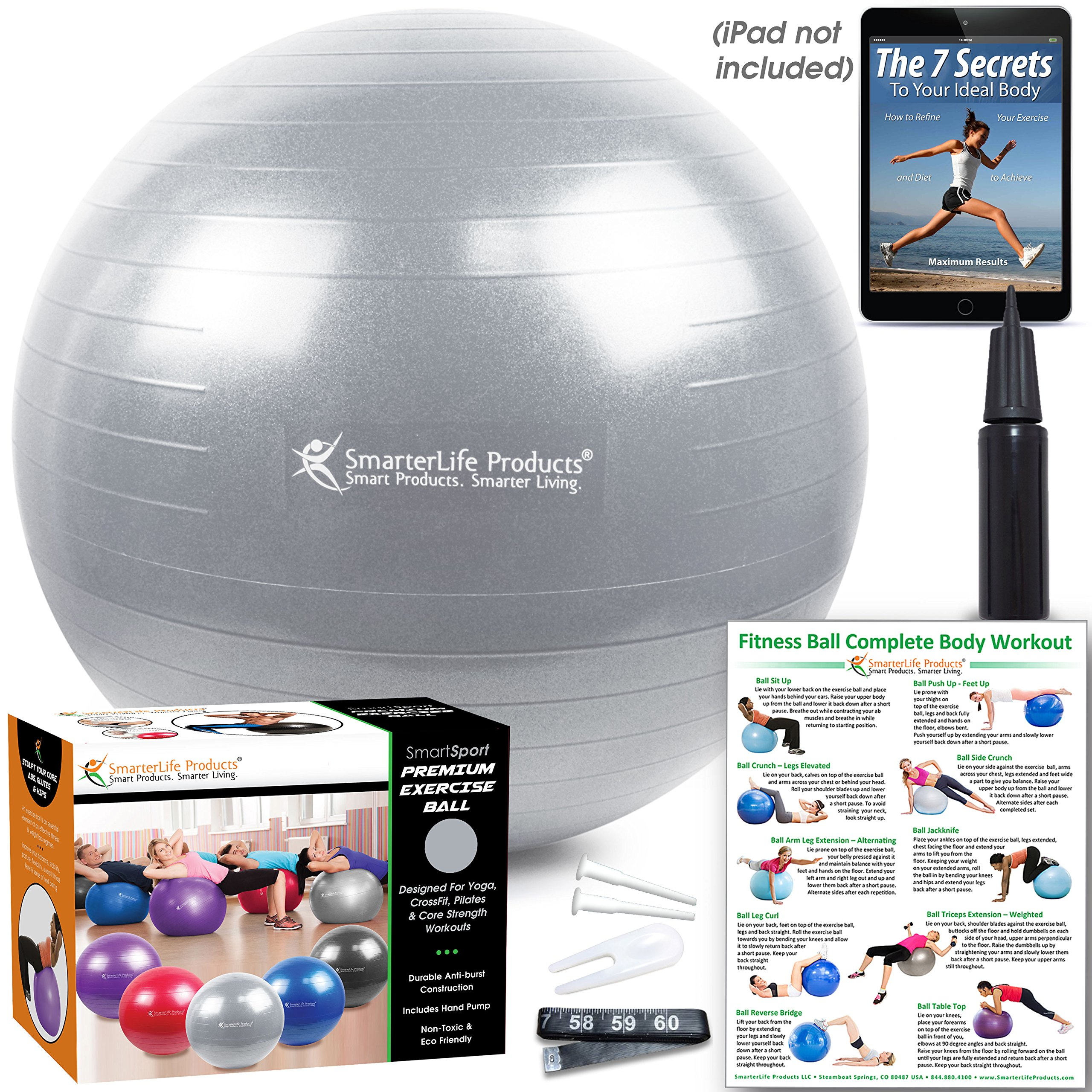 Exercise Ball for Yoga, Balance, Stability from SmarterLife - Fitness, Pilates, Birthing, Therapy, Office Ball Chair, Classroom Flexible Seating - Anti Burst, Non Slip + Workout Guide (Silver, 65cm) by SmarterLife Products (Image #5)