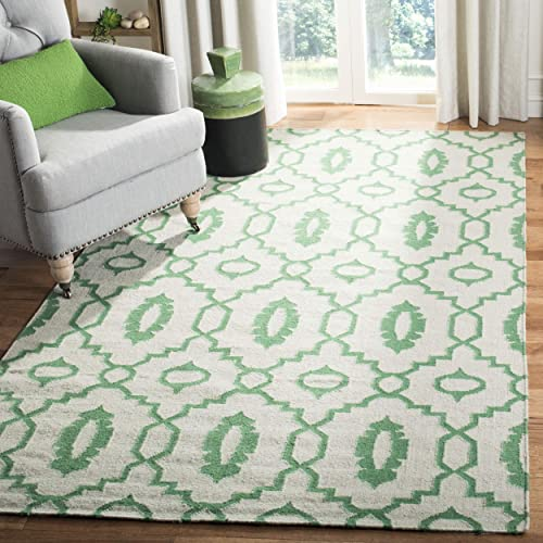 Safavieh Dhurries Collection DHU205B Hand Woven Ivory and Green Premium Wool Area Rug 3 x 5