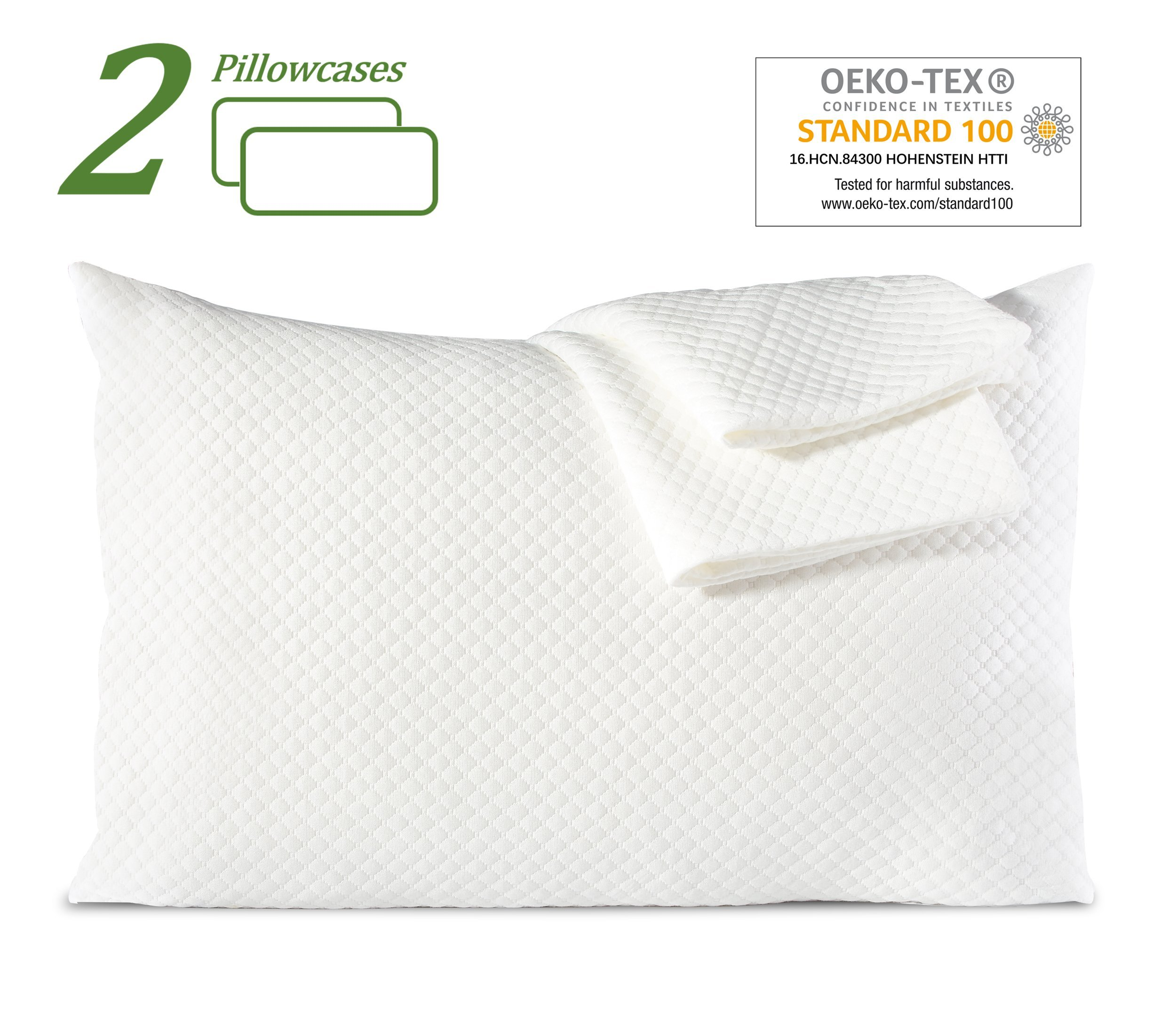 Queen Standard Size Pillow Cases Set of 2 Pillowcases Soft Dust Mite Bed Bug Proof Pillow Covers 20x30 White Comfortable Premium Bamboo Protector-Envelope Closure Eco-friendly Oeko-tex For Sleeping