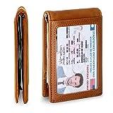 Travel Wallet RFID Blocking Bifold Slim Genuine Leather Thin Minimalist Front Pocket Mens Wallets with Money Clip - Made From Full Grain Leather (Dark Caramel 1.S) (Color: Dark Caramel, Tamaño: Slim)