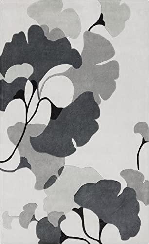 Surya Cosmopolitan COS-9172 Contemporary Hand Tufted 100 Polyester Icicle 9 x 13 Floral Area Rug