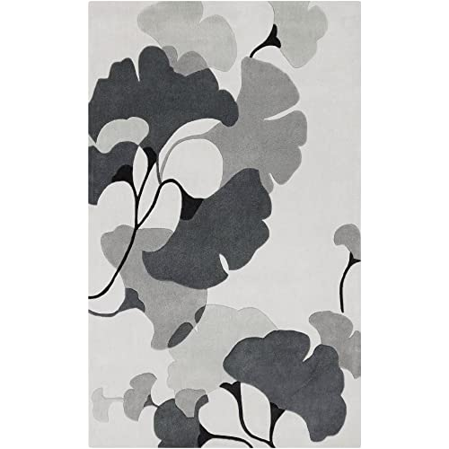 Surya Cosmopolitan COS-9172 Contemporary Hand Tufted 100 Polyester Icicle 5 x 8 Floral Area Rug