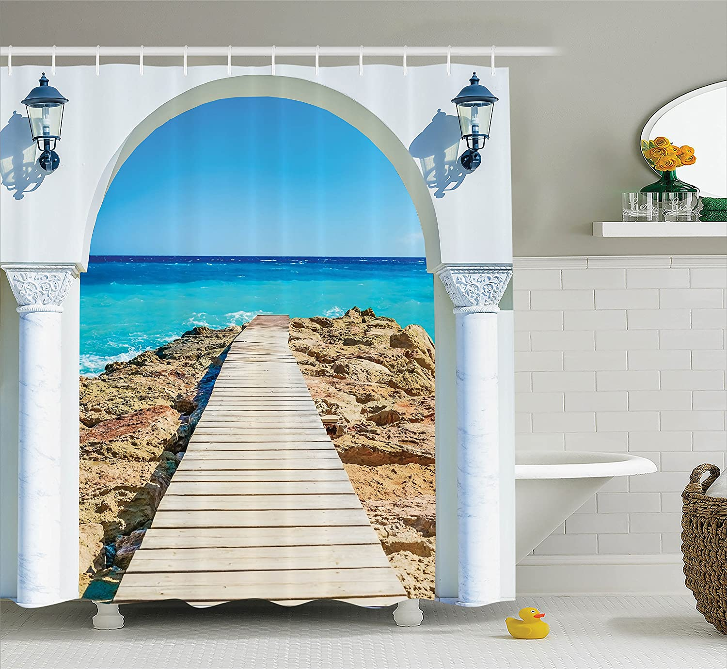 Ambesonne House Decor Shower Curtain Set, View from an Open Window Curve On The Sea with A Quay Wooden Coastline, Bathroom Accessories, 75 Inches Long