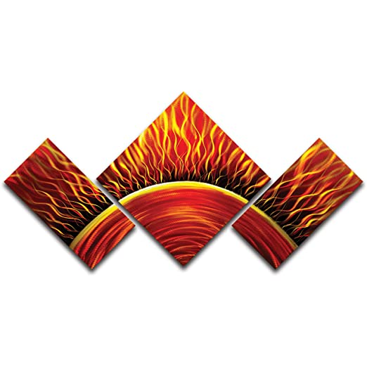 Metal Artscape Solar Flare 3-Panel Handmade Metal Wall Art,  Unique orange abstract wall art