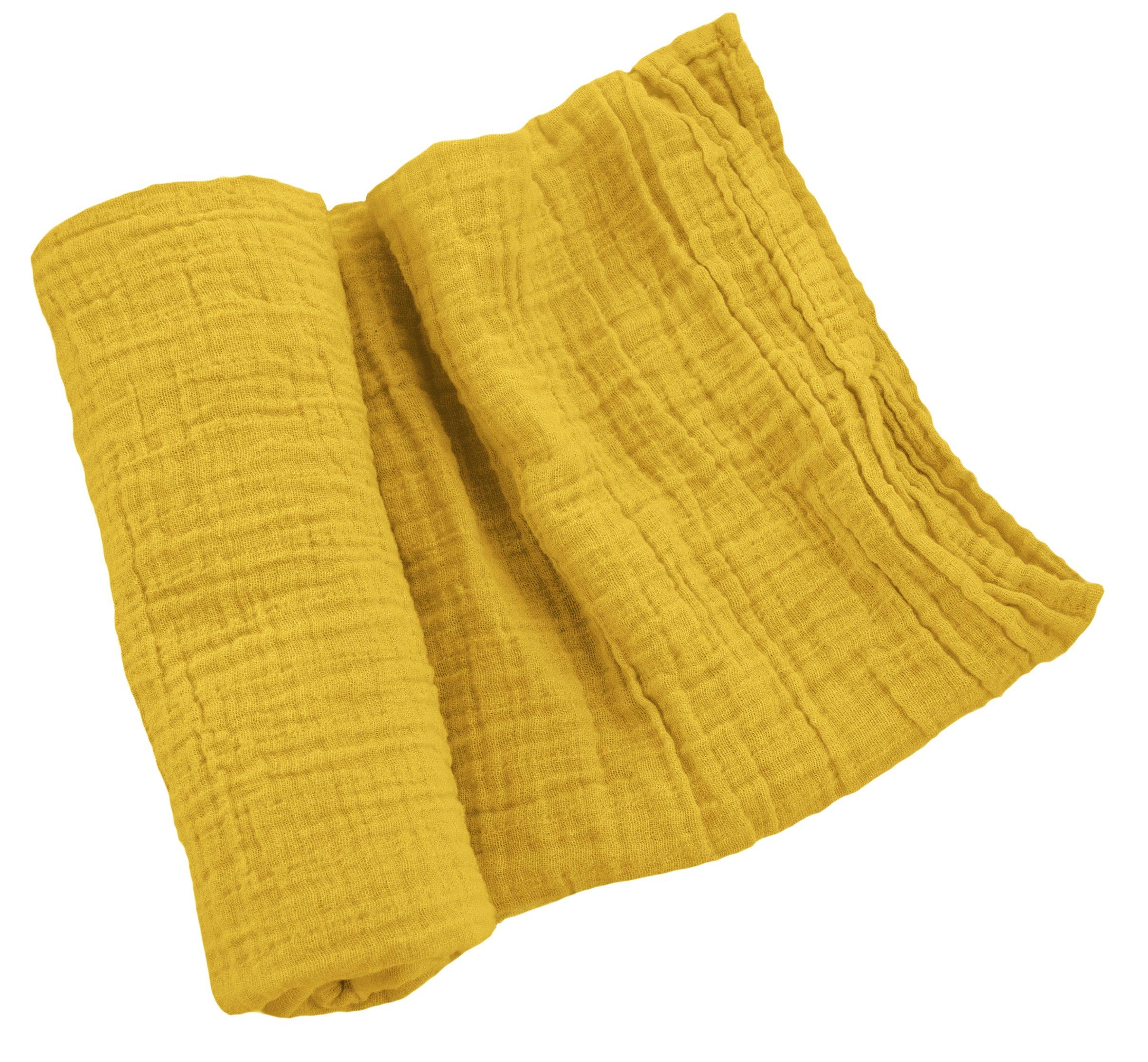 100% Cotton Muslin Swaddle Blanket (Mustard)
