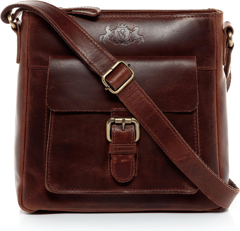 SID & VAIN® Bolso de Hombro Yale Bolso Tipo Crossbody Bandolera & Mensajero Piel marrón