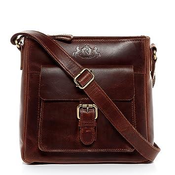 2ded1a279490a SID   VAIN Schultertasche Leder Yale klein Handtasche Schultergurt Damen  Umhängetasche echte Ledertasche Damentasche braun