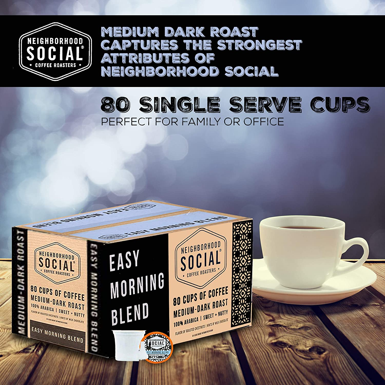 Neighborhood Social, Easy Morning Blend Medium Dark Roast Gourmet Coffee,  80 count Single