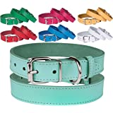 BronzeDog Handmade Genuine Leather Dog Collar, Puppy Leather Collar for Dogs, Small Medium Large, Pink Red Blue Green Turquoise White Yellow
