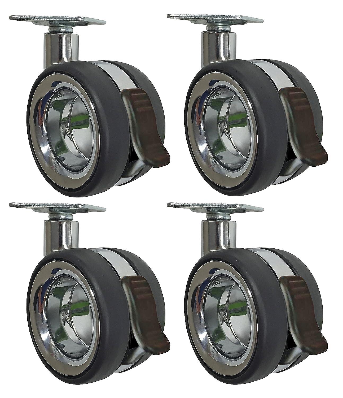 Headbourne 8291E Designer Casters 3 inch Polyurethane Hub Free Twin Wheel Chrome Black Designer Caster 4 Pack