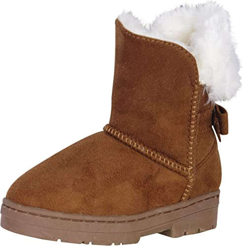 Toddler//Little Kid Little Girls Bow Suede Ankle Boot Winter Flat Shoes