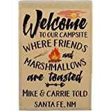 Happy Camper World Personalized Camping Flag, Welcome to Our Campsite Where Friends and Marshmallows are Toasted, Plus 2…